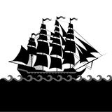 Vector ships set with separate editable elements. Royalty Free Stock Image