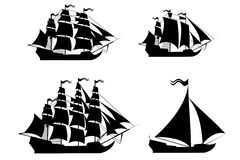 Vector ships set with separate editable elements. Royalty Free Stock Photo