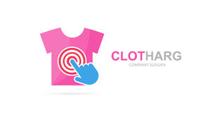 Vector shirt and click logo combination. Wear and cursor symbol or icon. Unique sale and print logotype design template. Vector logo or icon design element for Royalty Free Stock Image