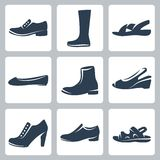 Vector shoes icons set Royalty Free Stock Photography