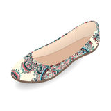 Vector shoes, women`s ballet slippers with multicolor ornament, isolated Royalty Free Stock Images