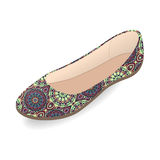 Vector shoes, women`s ballet slippers with multicolor ornament, isolated Royalty Free Stock Image