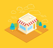 Vector shop building isometric illustration Stock Photography