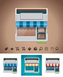 Vector shop icon with related pictograms. Detailed shop with awnings in different colors with shopping related pictograms Stock Photography