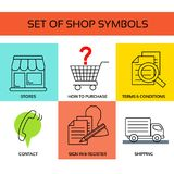 Vector shop symbols, navigation - stores, how to purchase, terms and conditions, contact us, sign in and register, shipping. Illustration Royalty Free Stock Photo