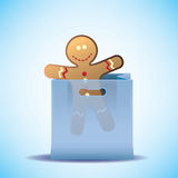 Vector shopping bag with cookie man Royalty Free Stock Image