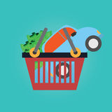 Vector of shopping basket car,money. Royalty Free Stock Images