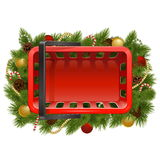 Vector Shopping Basket with Christmas Baubles Royalty Free Stock Images