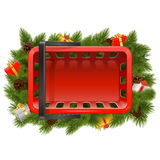 Vector Shopping Basket with Christmas Decorations Royalty Free Stock Images