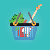 Vector of shopping basket .guitar,money. Royalty Free Stock Photography