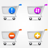 Vector shopping basket icons Stock Photography