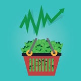 Vector of shopping basket .money,investment,stock. Royalty Free Stock Photography