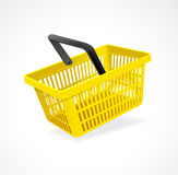 Vector shopping basket yellow on white Royalty Free Stock Photo