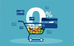 Vector of a shopping cart and discount credit card with low interest rates. On blue background royalty free illustration