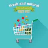 Vector shopping cart with fruits and vegetables Royalty Free Stock Image