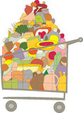 Vector Shopping Cart full of food Royalty Free Stock Images