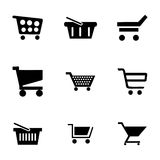 Vector shopping cart icons set Royalty Free Stock Photos