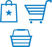Vector shopping carts and bags illustration Stock Photography