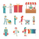Vector Shopping Characters. And employees of delivery on White Background royalty free illustration