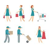 Vector Shopping Characters and employees of. Delivery on White Background vector illustration
