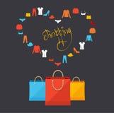 Vector shopping concept card Royalty Free Stock Photography