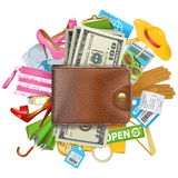 Vector Shopping Concept with Wallet Royalty Free Stock Images