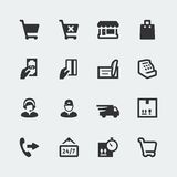 Vector shopping and e-store icons set. Vector shopping and e-store mini icons set Royalty Free Stock Image