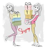 Vector shopping girl Stock Images