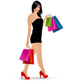 Vector shopping girl Royalty Free Stock Photography