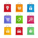 Vector Shopping icon set on shopping bag Stock Image