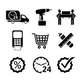 Vector shopping icons in black Stock Photography