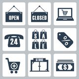 Vector shopping icons set Royalty Free Stock Photos