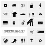 Vector shopping icons set black and white Royalty Free Stock Images
