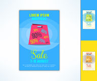 Vector shopping sale ad flyer with in modern flat design. Promotional design element Stock Photography