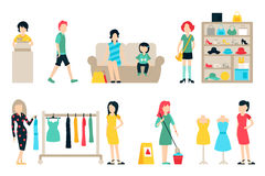 Vector shopping and shipping flat icons set.  Royalty Free Stock Images