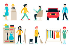 Vector shopping and shipping flat icons set. Stock Photography
