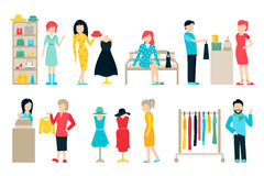 Vector shopping and shipping flat icons set. Mall Staff, Happy Buyers Isolated On White Background Royalty Free Stock Images