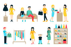Vector shopping and shipping flat icons set. Mall Staff, Happy Buyers Isolated On White Background, Furniture, Clothes Royalty Free Stock Images