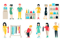 Vector shopping and shipping flat icons set. Mall Staff, Happy Buyers   Royalty Free Stock Photos