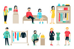Vector shopping and shipping flat icons set. Mall Staff, Happy Buyers  On White Background, Furniture, Clothes Stock Photography