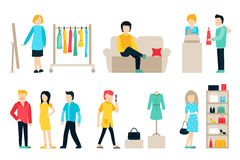 Vector shopping and shipping flat icons set. Stock Photos
