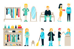 Vector shopping and shipping flat icons set.  Stock Image