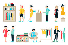 Vector shopping and shipping flat icons set. Mall Staff, Happy Buyers  On White Background, Furniture, Clothes Royalty Free Stock Photography
