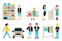 Vector shopping and shipping flat icons set. Mall Staff, Happy Buyers  On White Background, Furniture, Clothes. Wardrobe, People Vector Illustration, Graphic Stock Photography
