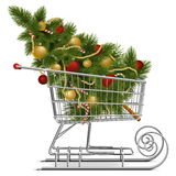 Vector Shopping Sled with Christmas Tree Royalty Free Stock Photography