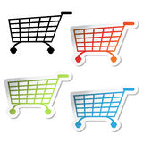 Vector shopping trolley stickers Royalty Free Stock Image