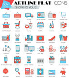 Vector Shopping ultra modern outline artline flat line icons for web and apps. Royalty Free Stock Photography