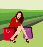 Vector Shopping Woman Royalty Free Stock Image