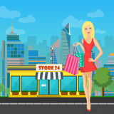 Vector shopping woman girl with bags near Store in modern city. Royalty Free Stock Images