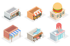 Vector shops and stores 3d isometric icons